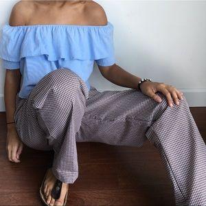 VINTAGE gingham stretch pants trousers M L